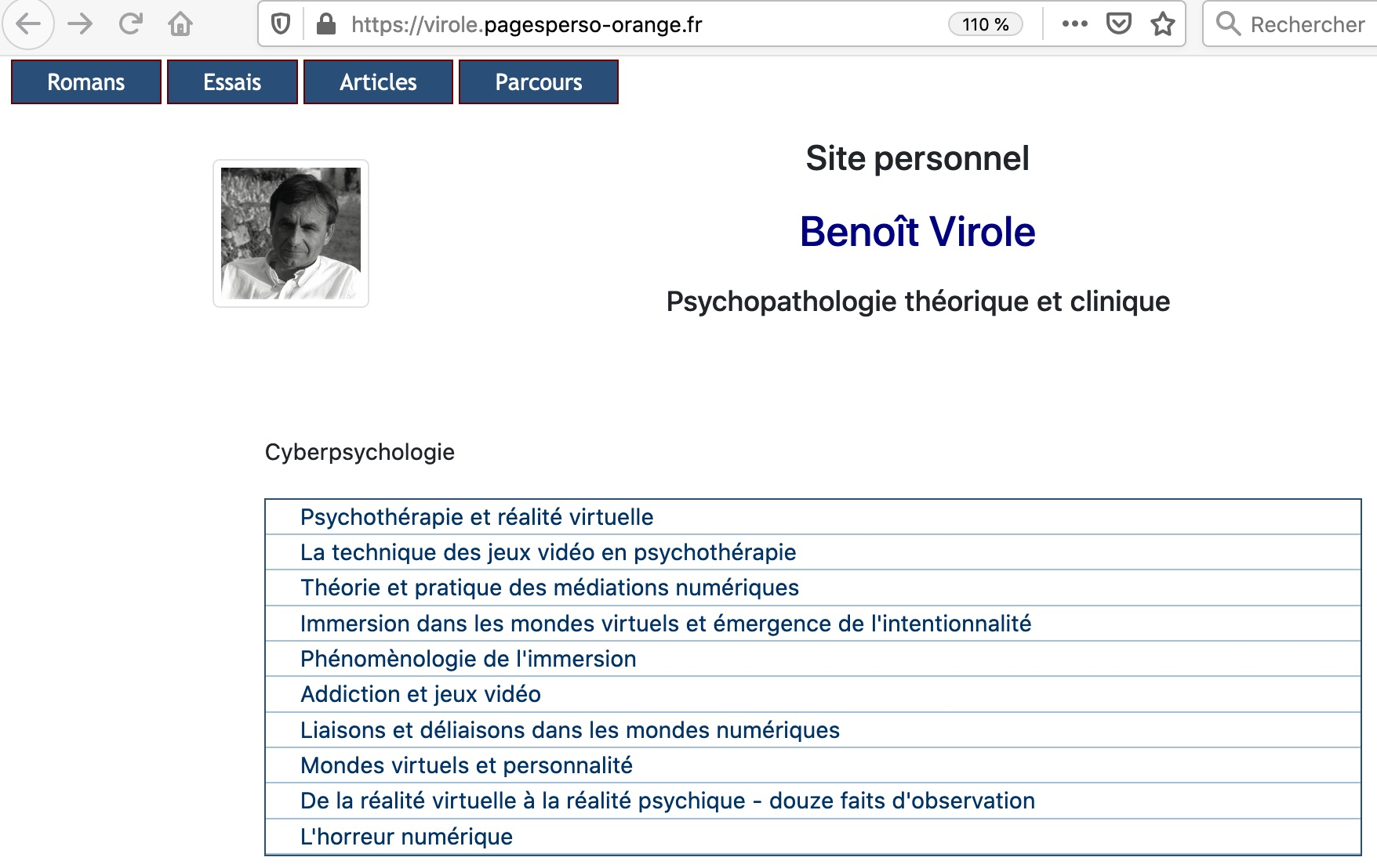 Benoît Virole – Cyberpsychologie